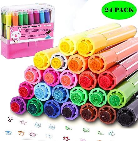 pennarelli lavabili non tossici colorati per bambini da disegno Magicdo 24 colori penne ad acquerello con timbri scarabocchiare e colorare pink