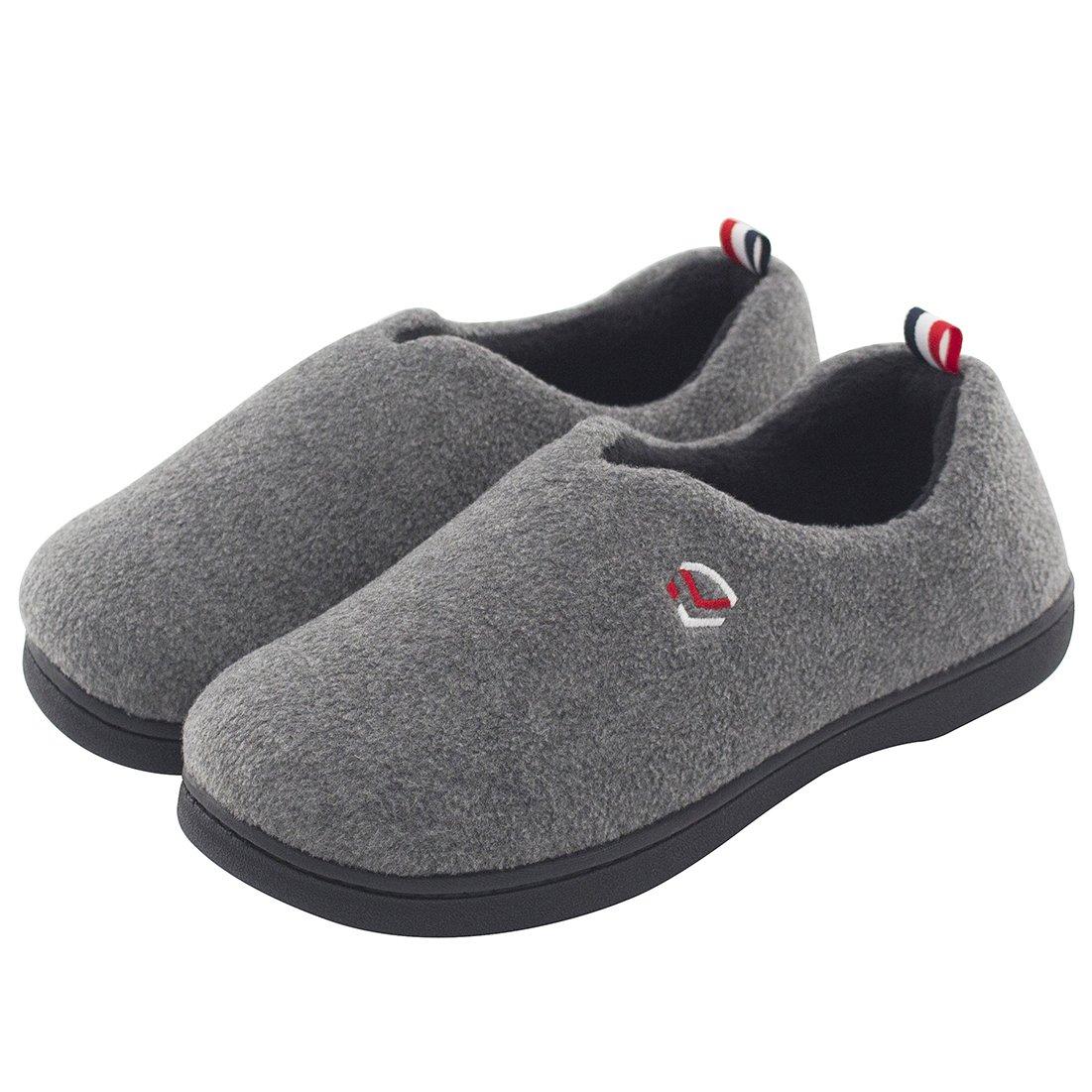 Women's Comfort Polar Fleece Slip on Slippers Color Block Memory Foam House Loafers Shoes w/Indoor, Outdoor Sole (Medium/7-8 B(M) US, Gray)