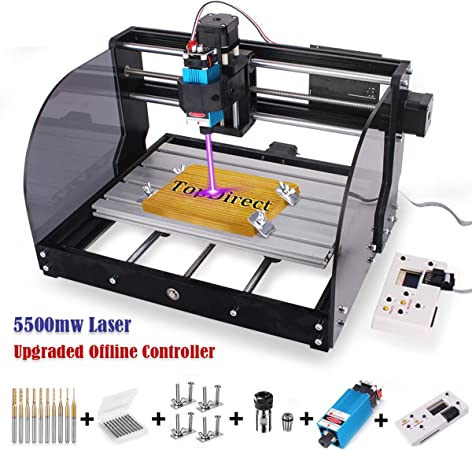 ER11 Extension Rod GRBL Control 3 Axis DIY Mini CNC Machine Wood Router Engraver with Offline Controller 2-in-1 2500MW Laser Engraver CNC 3018 Pro-M Engraving Machine CNC Router Bits