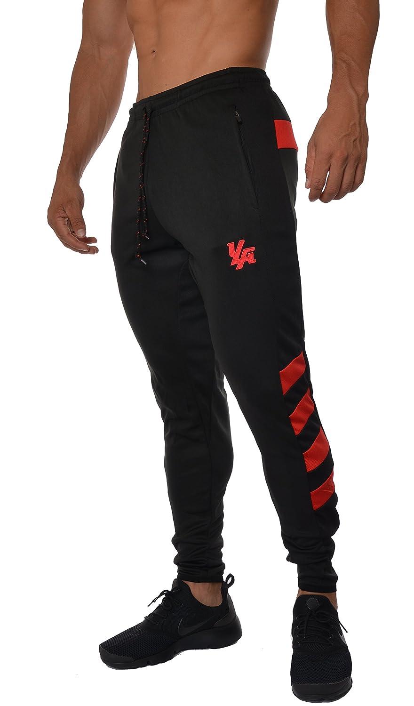 younglaメンズサッカートレーニングパンツTapered Fit 5色 B01BHC2HQE Large|ブラック/レッド ブラック/レッド Large