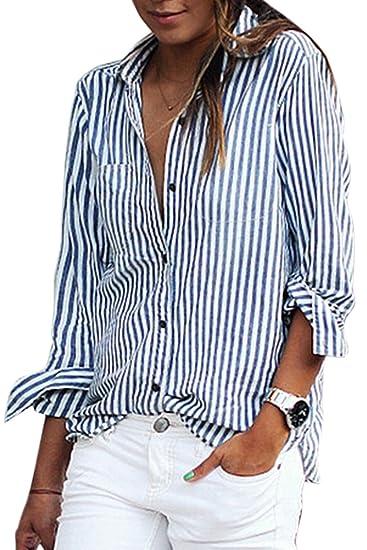 La Mujer De Manga Larga Con Cuello De Rayas Blusa Holgada Camisa Top Tee: Amazon.es: Ropa y accesorios