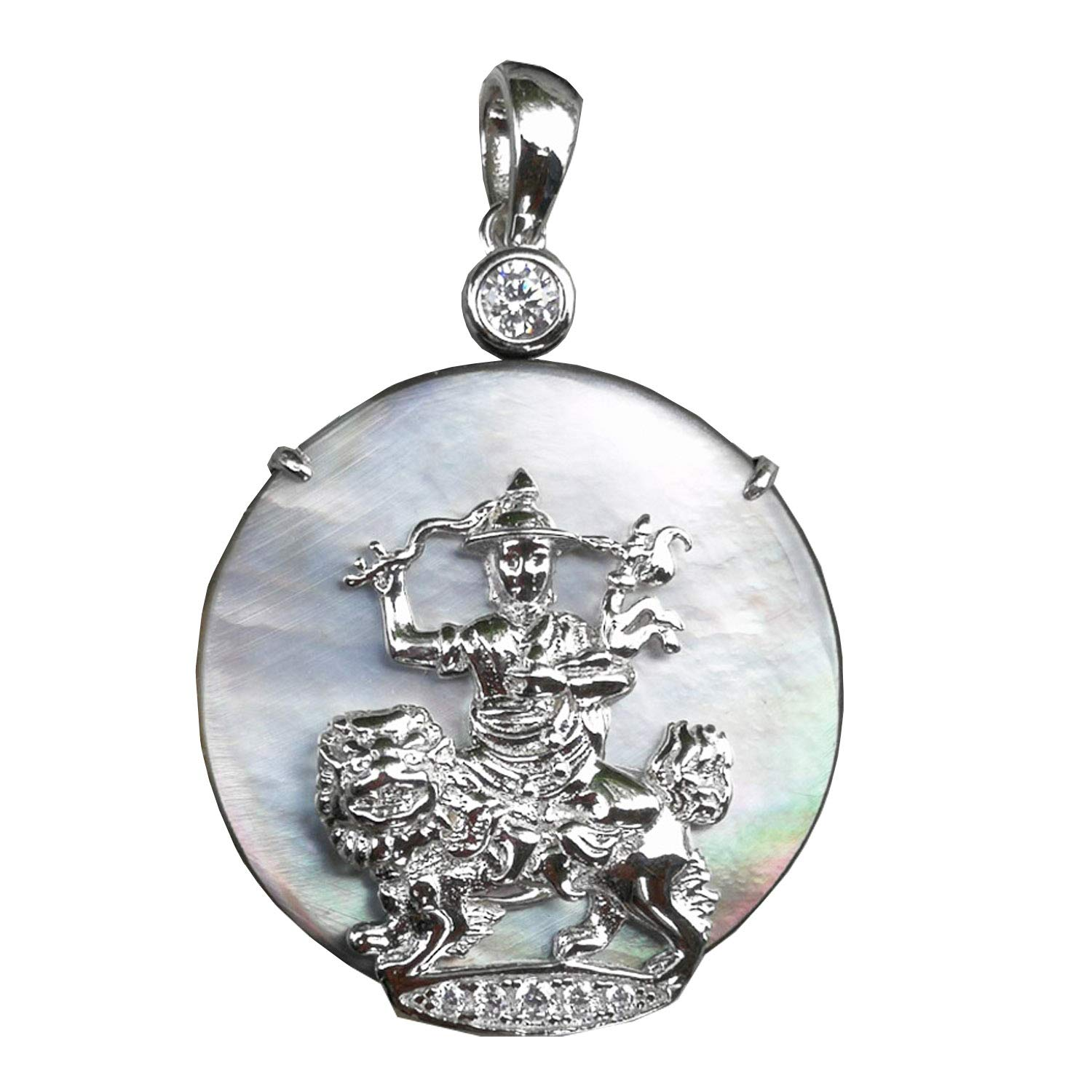 925 Silver Dorje Shugden Pendant with Shell and Cubic Zirconia