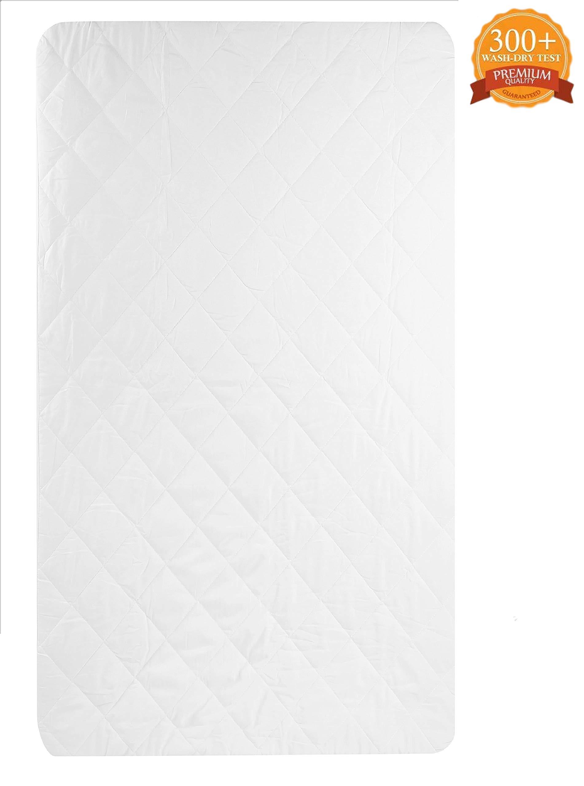 Waterproof Crib Mattress Pad - Fitted Baby Crib Mattress Pad, Hypoallergenic, Absorbent - 28'' x 52'' x 9'' - Classic White