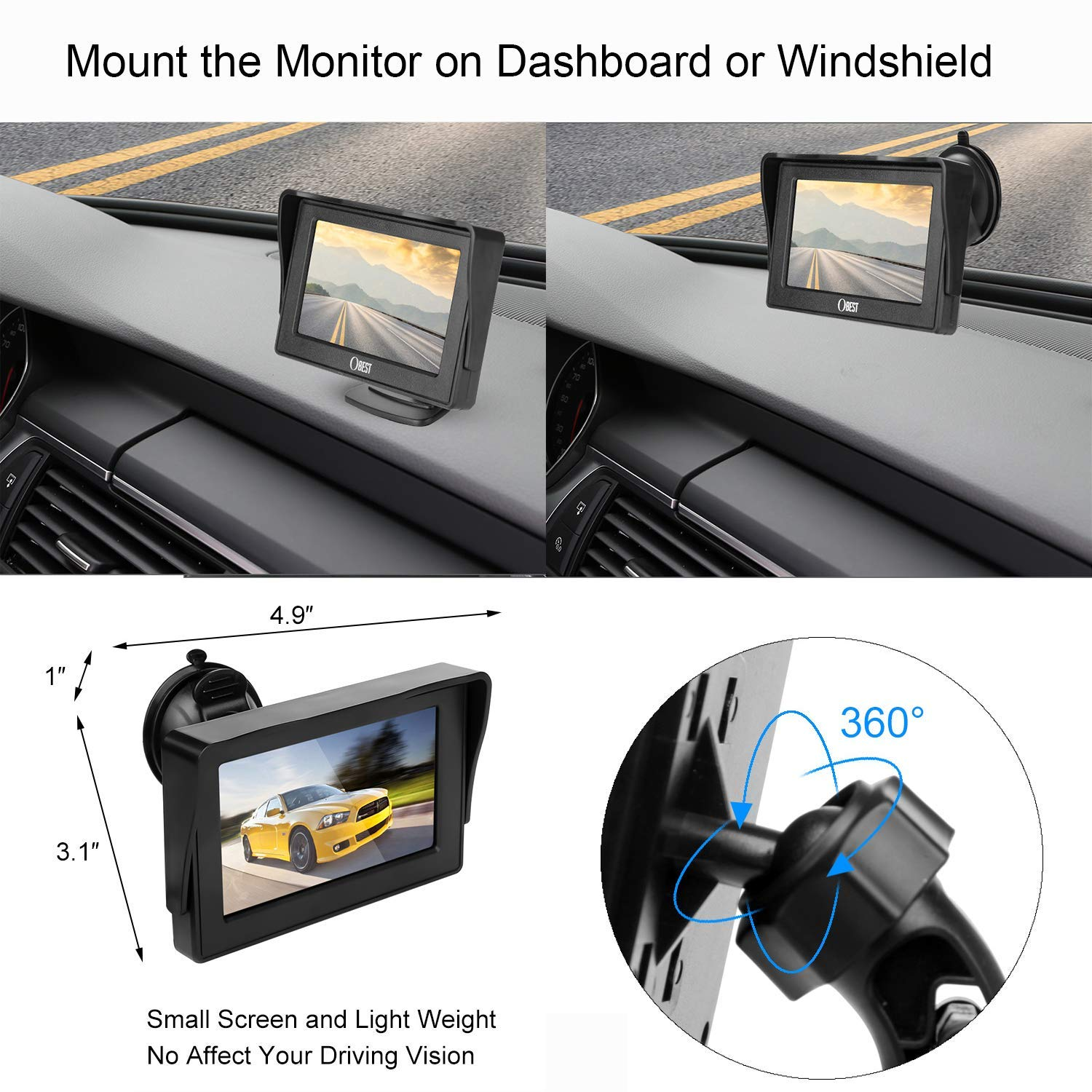 B-Qtech Backup Camera and Monitor Kit Mini Rear View Reverse Camera Waterproof Night Vision with Guide Lines and 4.3 LCD Display for Car SUV Van 5558989981