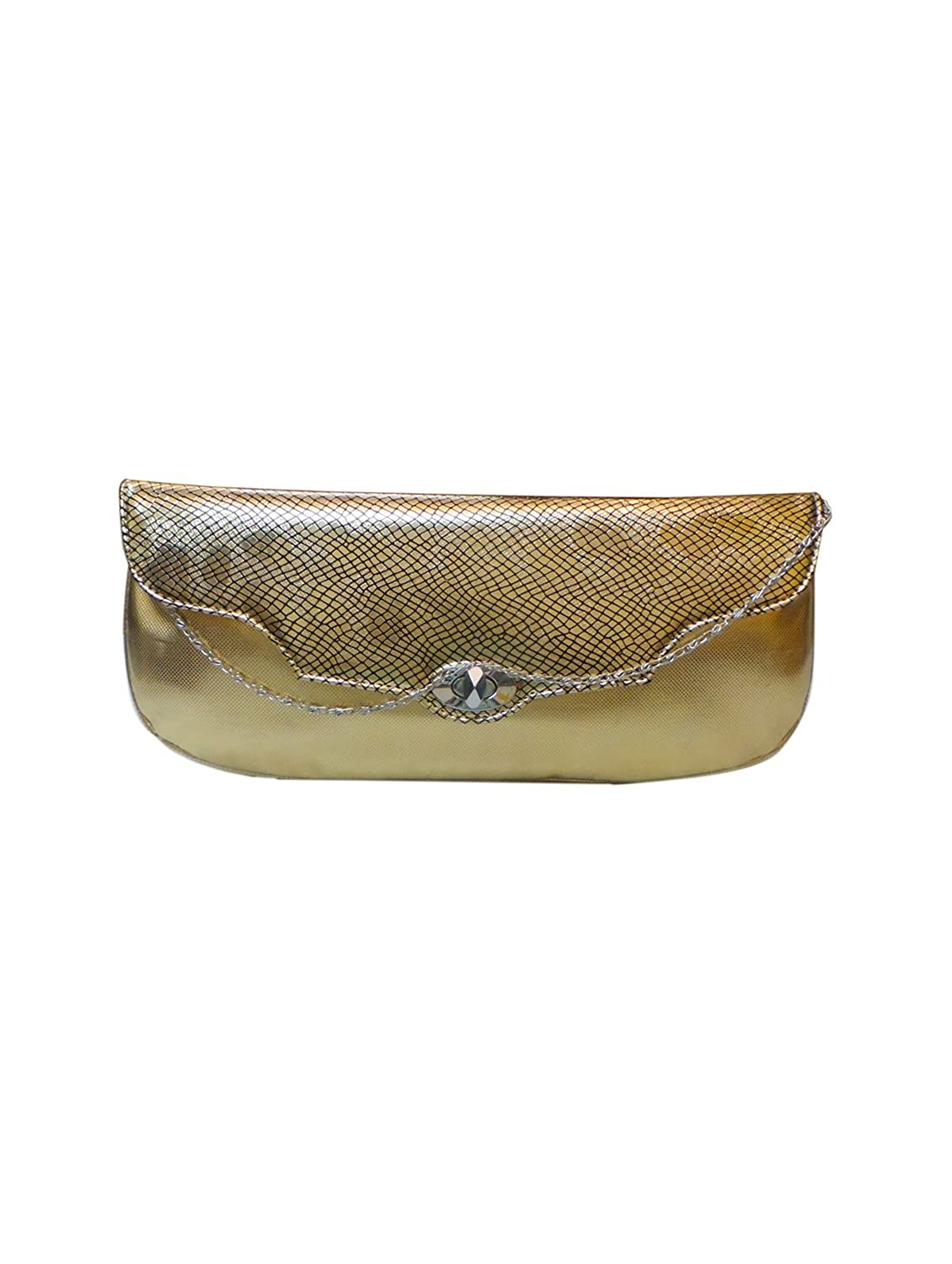 Bhamini Gold Indo Western Shimmer Clutch with abstract design flap