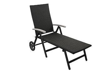1PLUS Premium Aluminium Gartenliege Relaxliege Sonnenliege Rattanliege Mit  Rollen Mit GS, Liegefläche 192 X 56