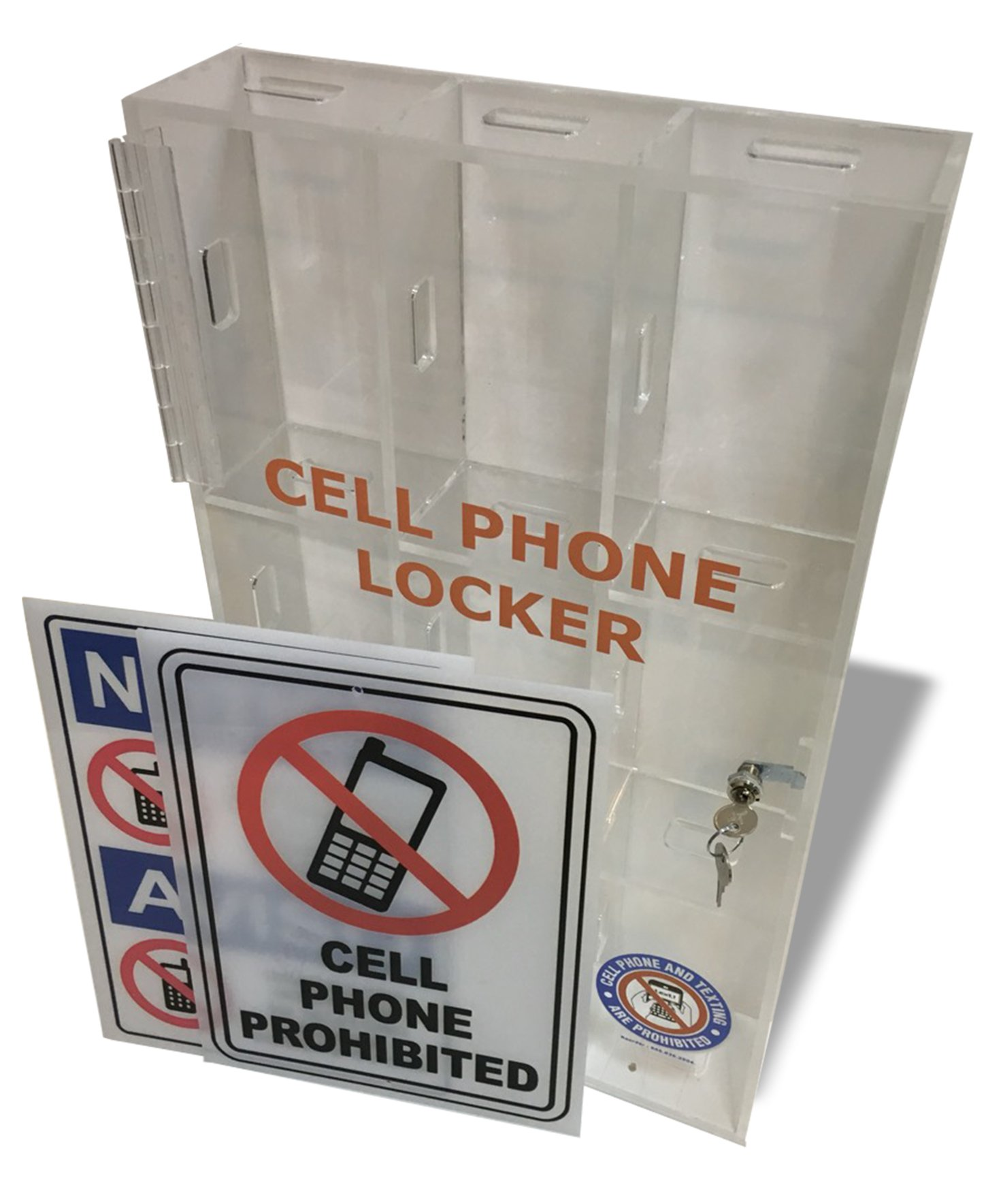 Wall Mounted Single door Cell Phone Locker with two keys- Clear Acrylic