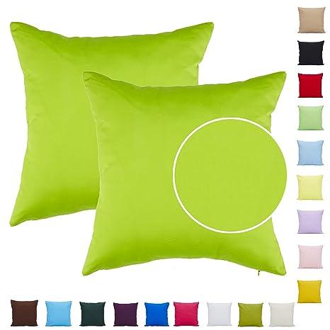 Comoco Funda de cojín para sofá, 2 unidades, algodón, color sólido, ligera, disponible en 15 colores y 7 tamaños, Verde, 70x70