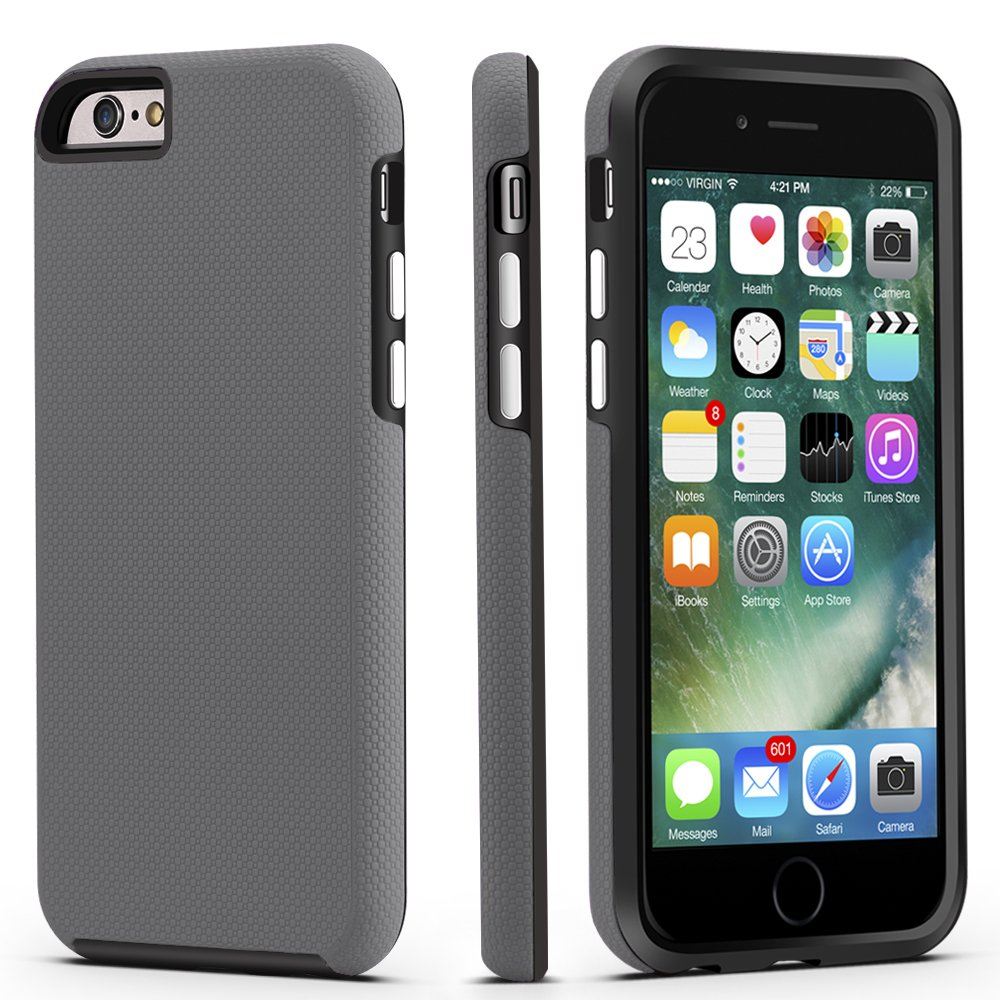 iPhone 6 / 6s Case, CellEver Dual Guard Protective Shock-Absorbing Scratch-Resistant Rugged Drop Protection Cover for Apple iPhone 6 / 6S (Slate)