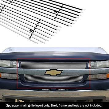 AUTEX C65702A Aluminum Polished Chrome Main Upper Billet Grille Grill Insert Compatible with 2001 2002 Chevy Silverado 2500//2500HD//3500