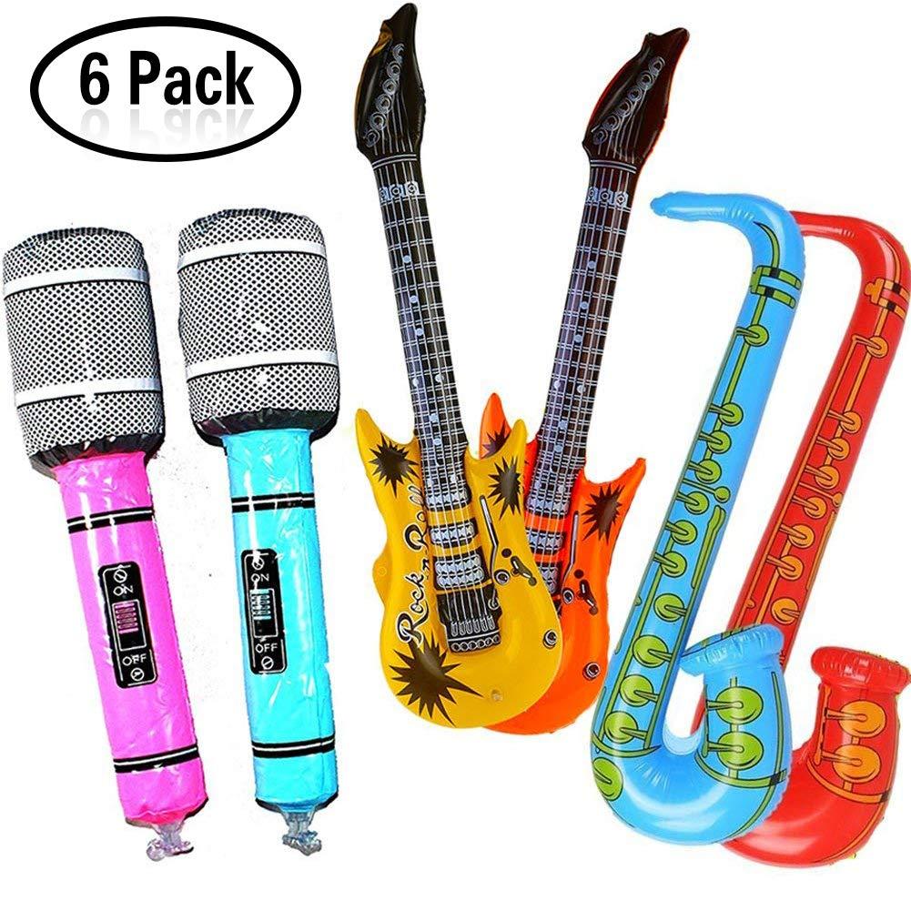 Yojoloin Super Riesen 6 STÜCKE Jumbo Inflatables Gitarre Saxophon Mikrofon Musikinstrumente Zubehör Für Party Supplies Party Favors Ballons Zufällige Farbe (6 STÜCKE)