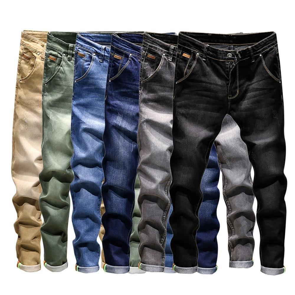 Promotion! Men Slim Jeans, NEARTIME Fashion Men's Autumn Casual Vintage Denim Hip Hop Work Trousers Washed Straight Pants by NEARTIME (Image #3)