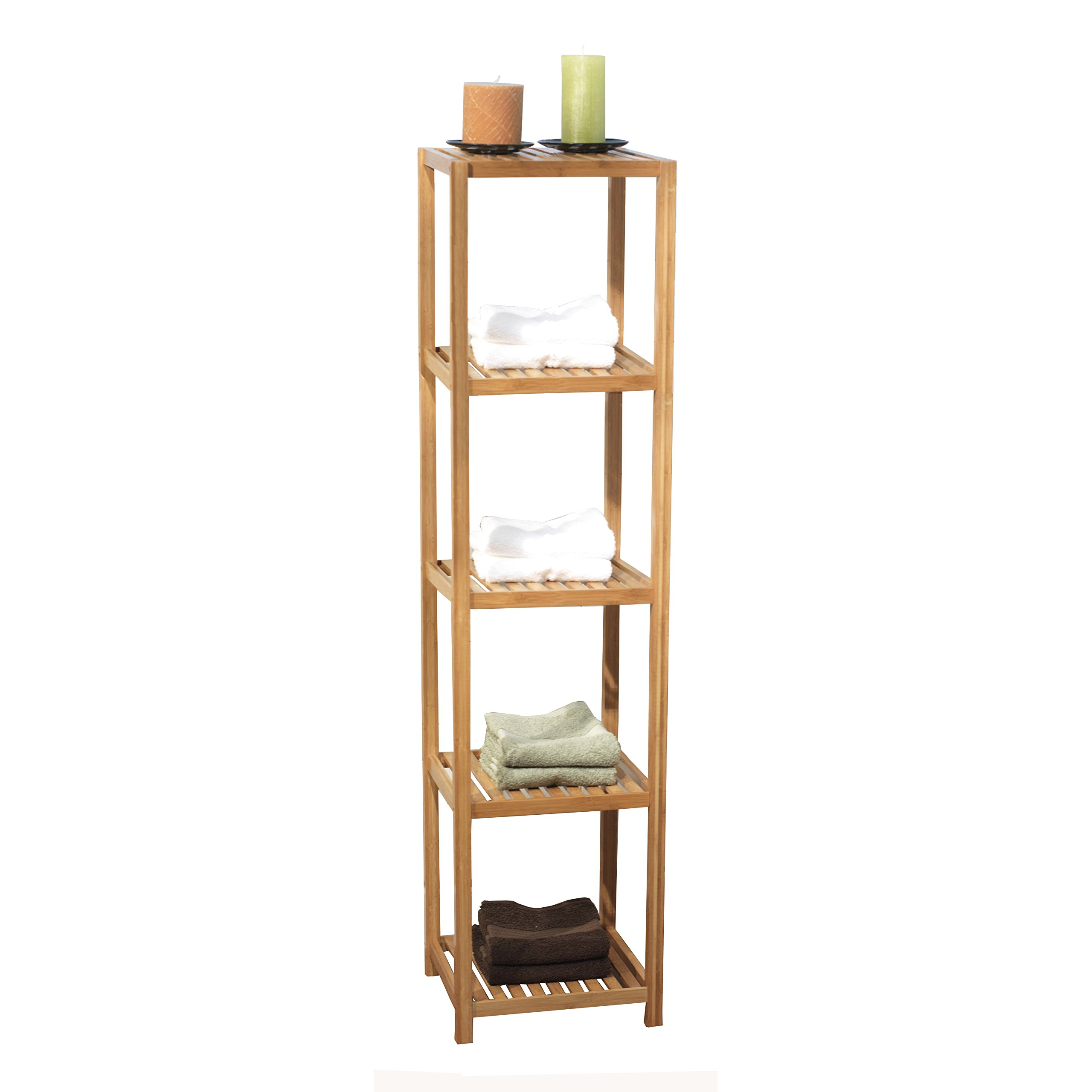 Target Marketing Systems Bamboo Shelf 5 Tier Bamboo Bathroom Shelf, Bamboo