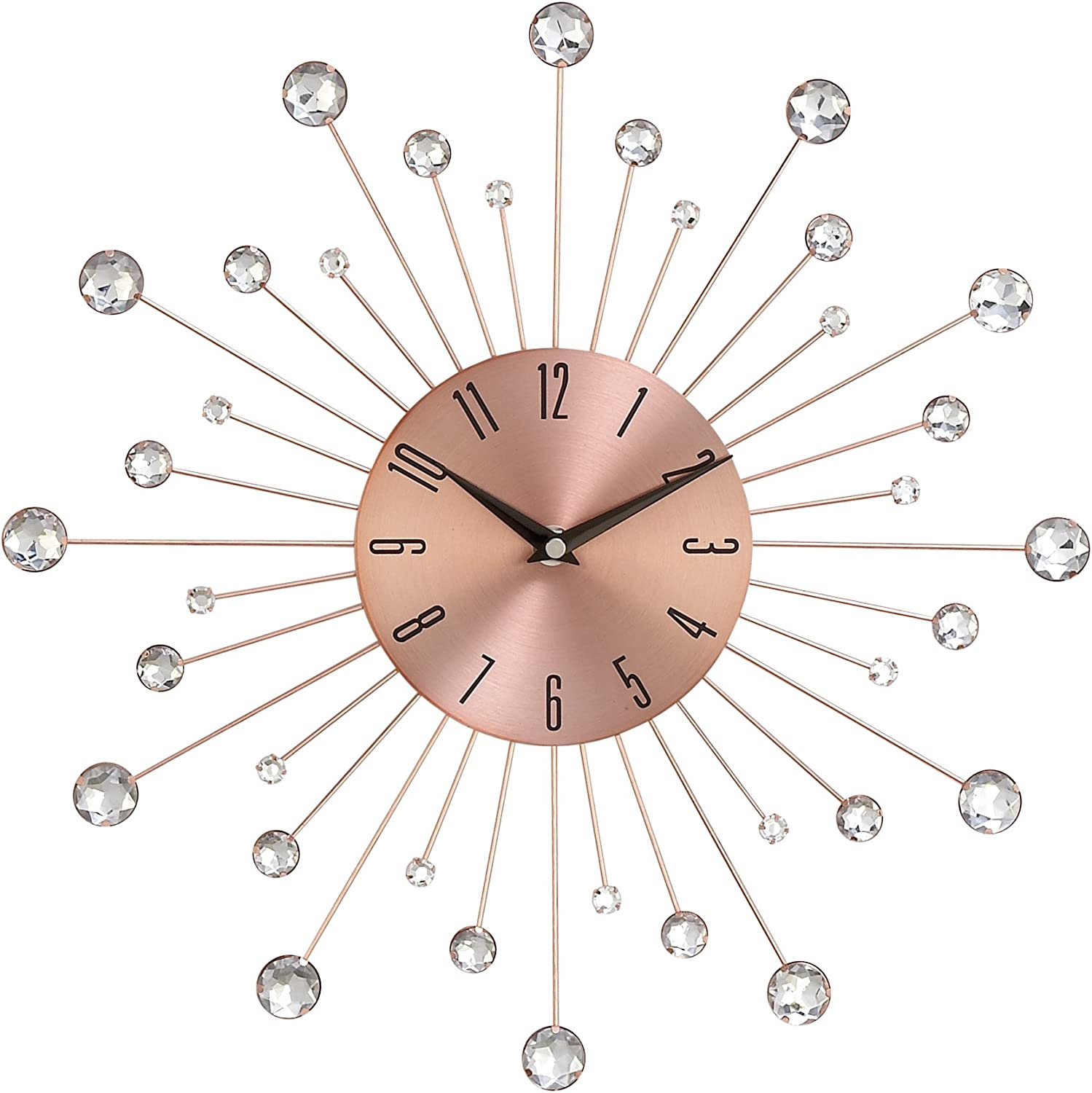 Amazon Com Deco 79 85517 Wall Clock With Clear Crystal Accents 15 Round Iron Burst Design Diameter Copper Black Garden Outdoor