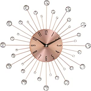 """Deco 79 85517 Wall Clock with Clear Crystal Accents 15"""" Round Iron Burst Design, Diameter, Copper/Black"""