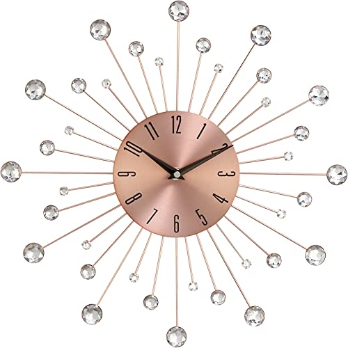 Deco 79 85517 Wall Clock with Clear Crystal Accents 15 Round Iron Burst Design, Diameter, Copper Black