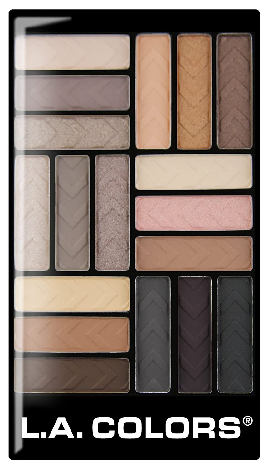 L.A. Colors 18 Color Eyeshadow Palette, Downtown Brown, 0.70 Oz L.A. Colors Cosmetics CES750
