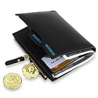 MPTECK @ Noir Portefeuille pour homme en PU cuir Porte monnaie avec poche à monnaie et porte-carte amovible compartiment à fermeture pour carte d'identité permis de conduire Carte de Crédit
