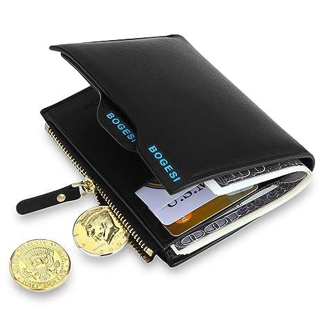 MPTECK   Nero Portafoglio uomo di pelle PU con porta moneta e rimovibile  porta carte per d0bd3eac05d