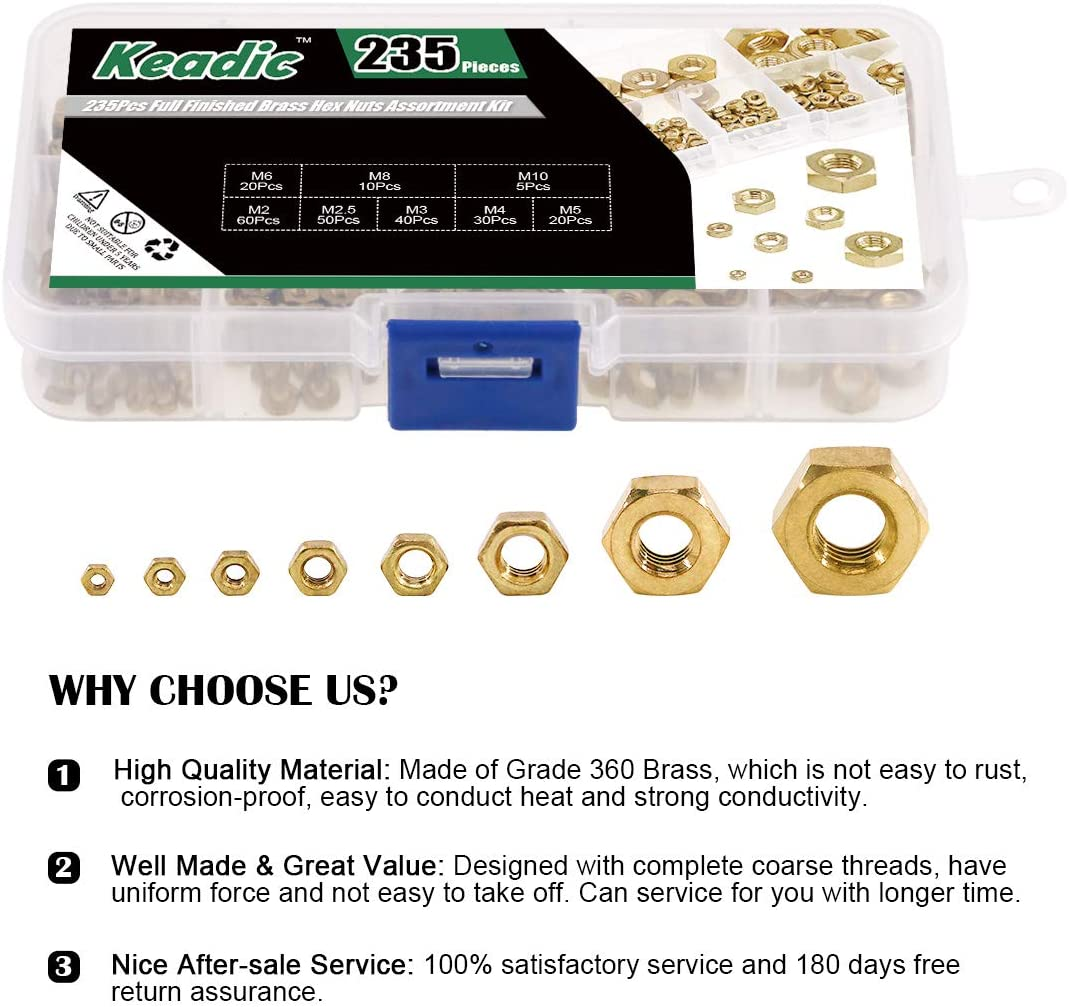 Glarks 235Pcs Metric M2 M2.5 M3 M4 M5 M6 M8 M10 High-Strength Brass Hex Nuts Assortment Kit