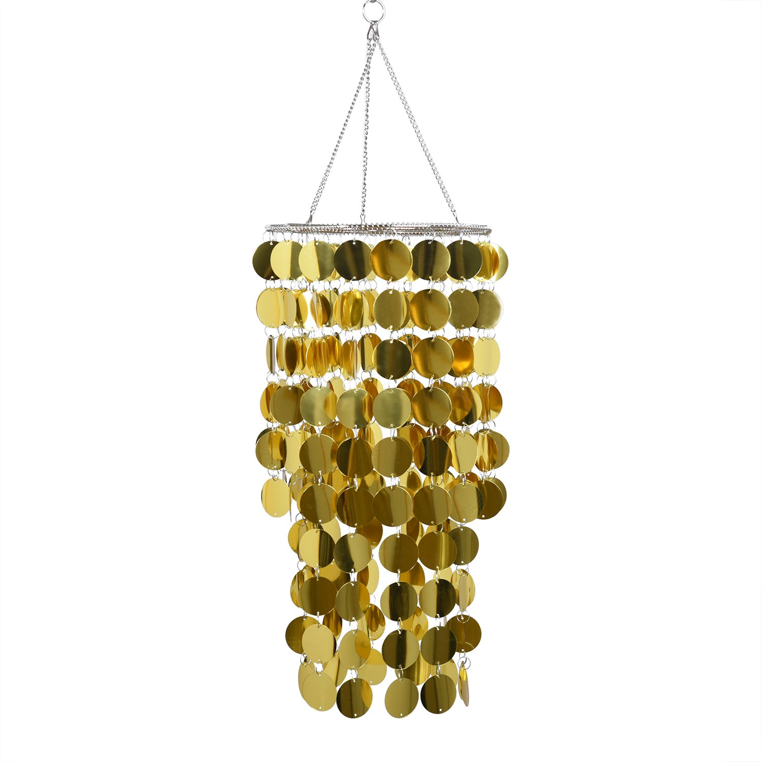 FlavorThings Gold Bling Hanging Chandelier, Spangle Chandelier,Great idea for Wedding Centerpieces Decorations and Any Event Party Home Decor (Gold)