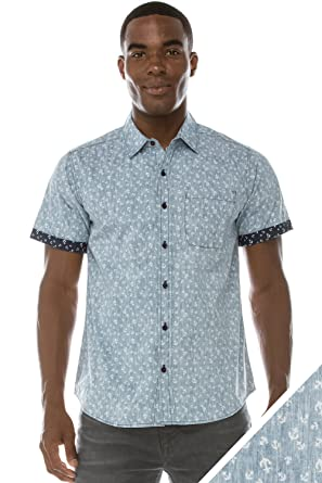 Mens Hipster Polka Dot Short-Sleeve Button-Down Casual Woven ...