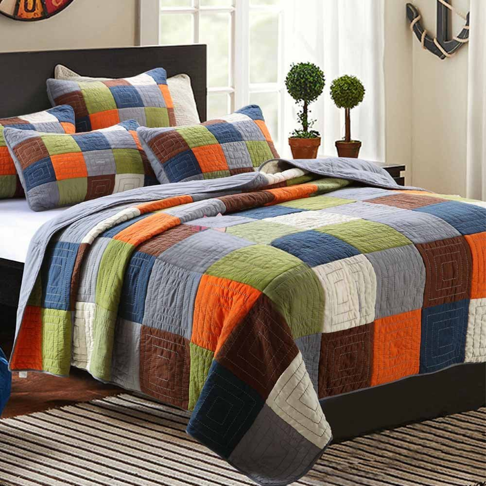 Cotton Patchwork Quilt Bedspread Set Queen Size Checkered Printed Quilt Set Reversible Coverlet Set Adults Kids Boys Girls Bed Quilt Set Luxury Winter Quilt Comforter Set, Wrinkle Resistant, Style1