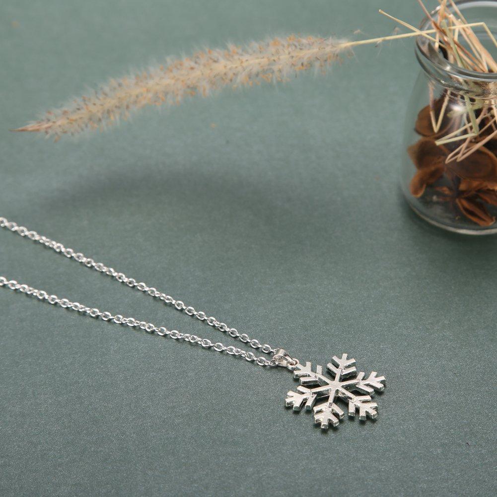 HighPlus Christmas Rhinestone Snowflake Necklace Pendants Chain Long Necklace