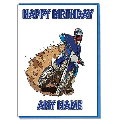 Cartolina Di Compleanno Con Disegno Motocross