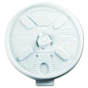 DART 10FTL White Lift N Lock Lid for Foam Cups and Containers (Case of 1,000), 10 oz.