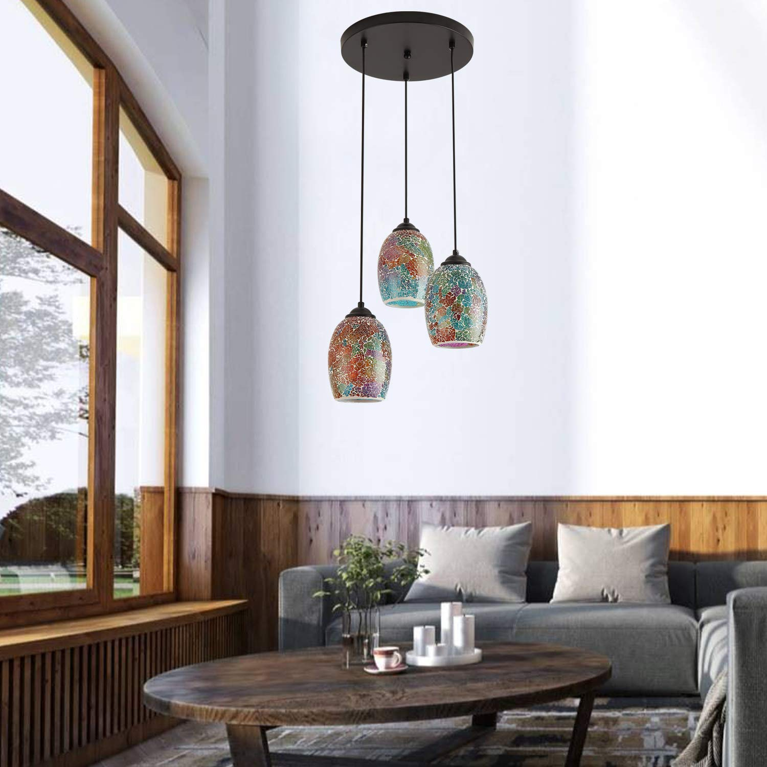 Hand Crafted Mosaic Colored Glass Shade Hanging Ceiling Lights,3 Lights Round Base Multi Pendant Lighting for Kitchen Island Dining Room Living Room Table Modern Kitchen Island Lighting