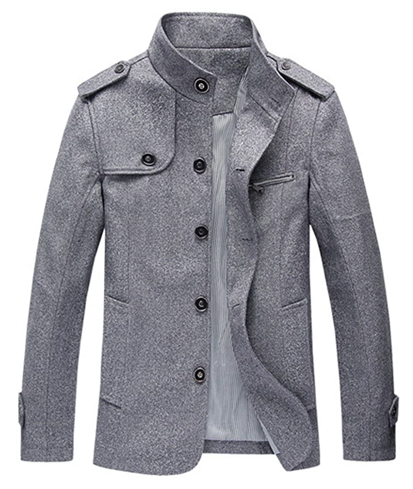 f00cdcfff8 Lavnis Men s Cotton Blend Jacket Casual Stand Collar Single Breasted Trench  Overcoat at Amazon Men s Clothing store