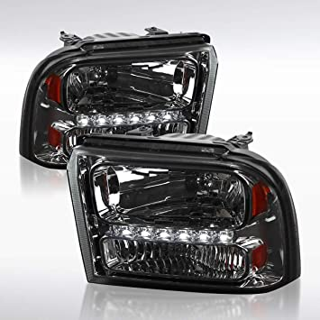 Autozensation For Ford F250 F350 F450 Super Duty Chrome Clear Headlights+Amber Reflector