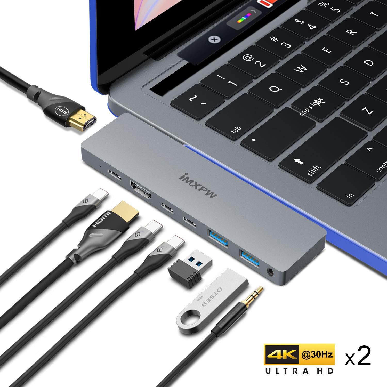 USB C Hub, USB C to 2HDMI Multiport Adapter Compatible MacBook pro 13''/15'', Mac Pro Adapter w/Pass-Through Charging Port, 2 USB C Data,2 HDMI, 2 USB 3.0, 3.5mm Audio Jack 8 in 1 by iMXPW