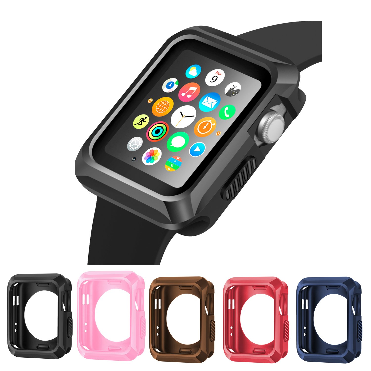 iiteeology Apple Watch Case, Universal Slim Rugged Protective TPU iWatch Case -5 Color Combination Pack for Apple Watch Series 3/2/1 (38mm)