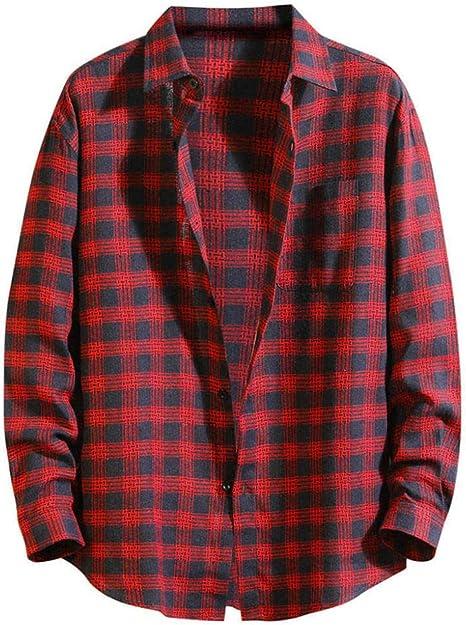 Wodechenshan Camisas Casual para Hombre,Moda para Hombres Camiseta Roja Chemise Otoño Suelto Plaid Diario Informal Camisa Manga Larga Streetwear Blusa Top: Amazon.es: Deportes y aire libre