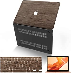 MacBook Air 13 Inch Case (Model:A1369 & A1466, Older Version 2010-2017 Release), Anban Ultra-Slim Wooden Hard Corner Protective Cover with Keyboard Cover Compatible Mac Air 13 Inch, Walnut