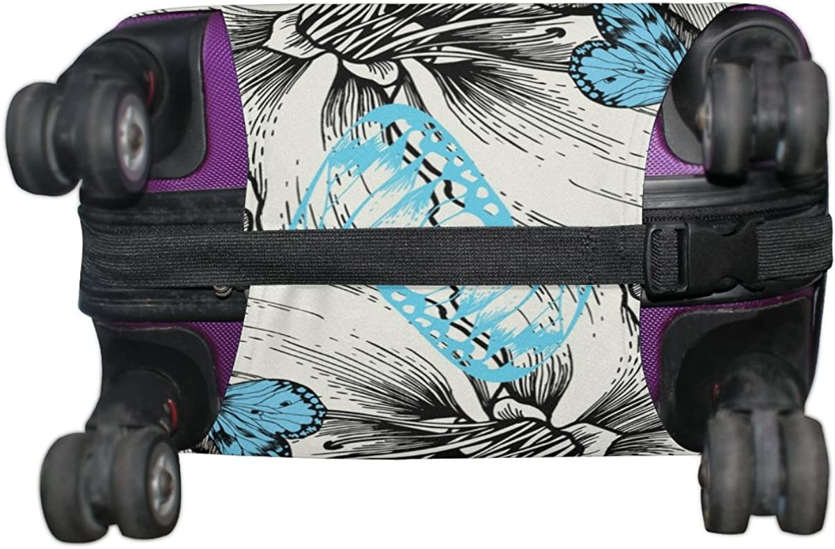 LAVOVO Colorful Butterfly Floral Rose Luggage Cover Suitcase Protector Carry On Covers