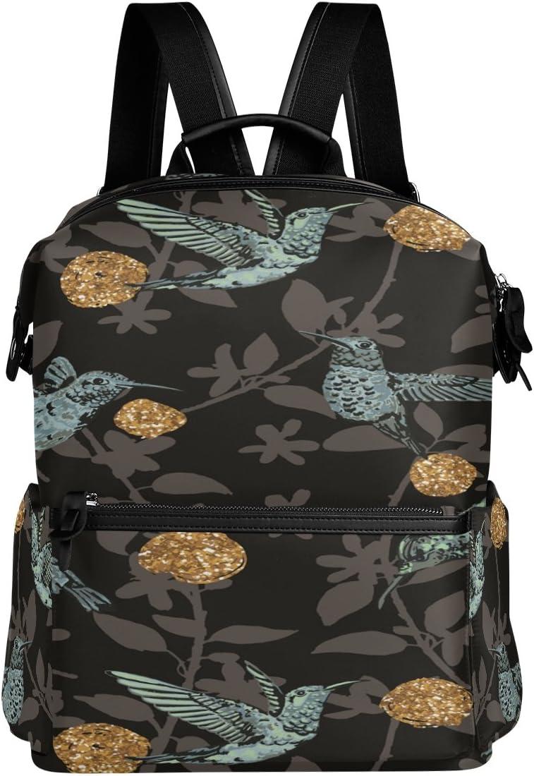 Laptop Backpack Lightweight Waterproof Travel Backpack Double Zipper Design with Birds And Floral Black Background School Bag Laptop Bookbag Daypack for Women Kids