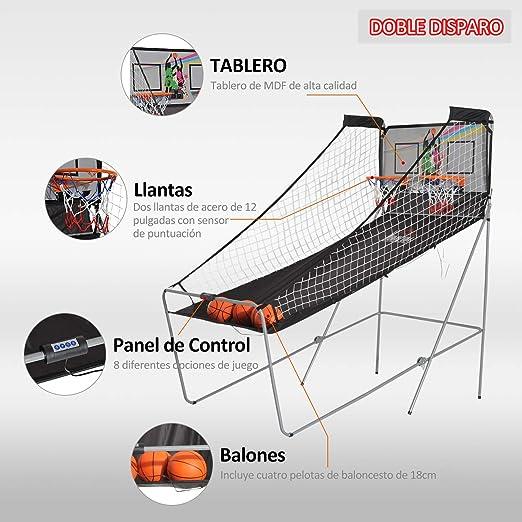 HOMCOM Juego de Canastas de Baloncesto Plegables y Portátiles con Contador Electrónico Doble y 4 Pelotas de Baloncesto con Soporte de Acero y Color Negro y Blanco 205x110x205cm (PxANxAL): Amazon.es: Deportes y