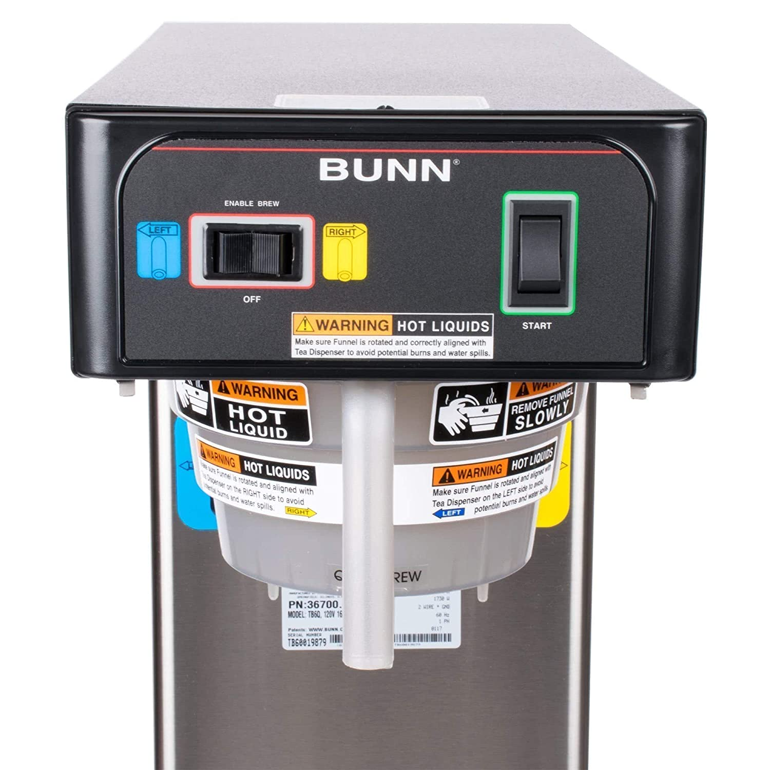 Bunn 367000301 Tb6q Quick Brew Twin 3 Gallon Iced Tea Phase Wiring Diagram Brewer 120v 1730w Industrial Scientific