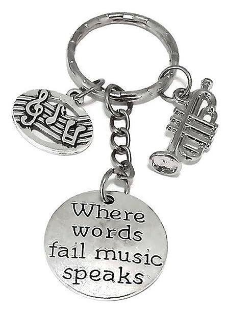 Amazon.com : Music Keychain, Musci Note Keychain, Trumpet ...