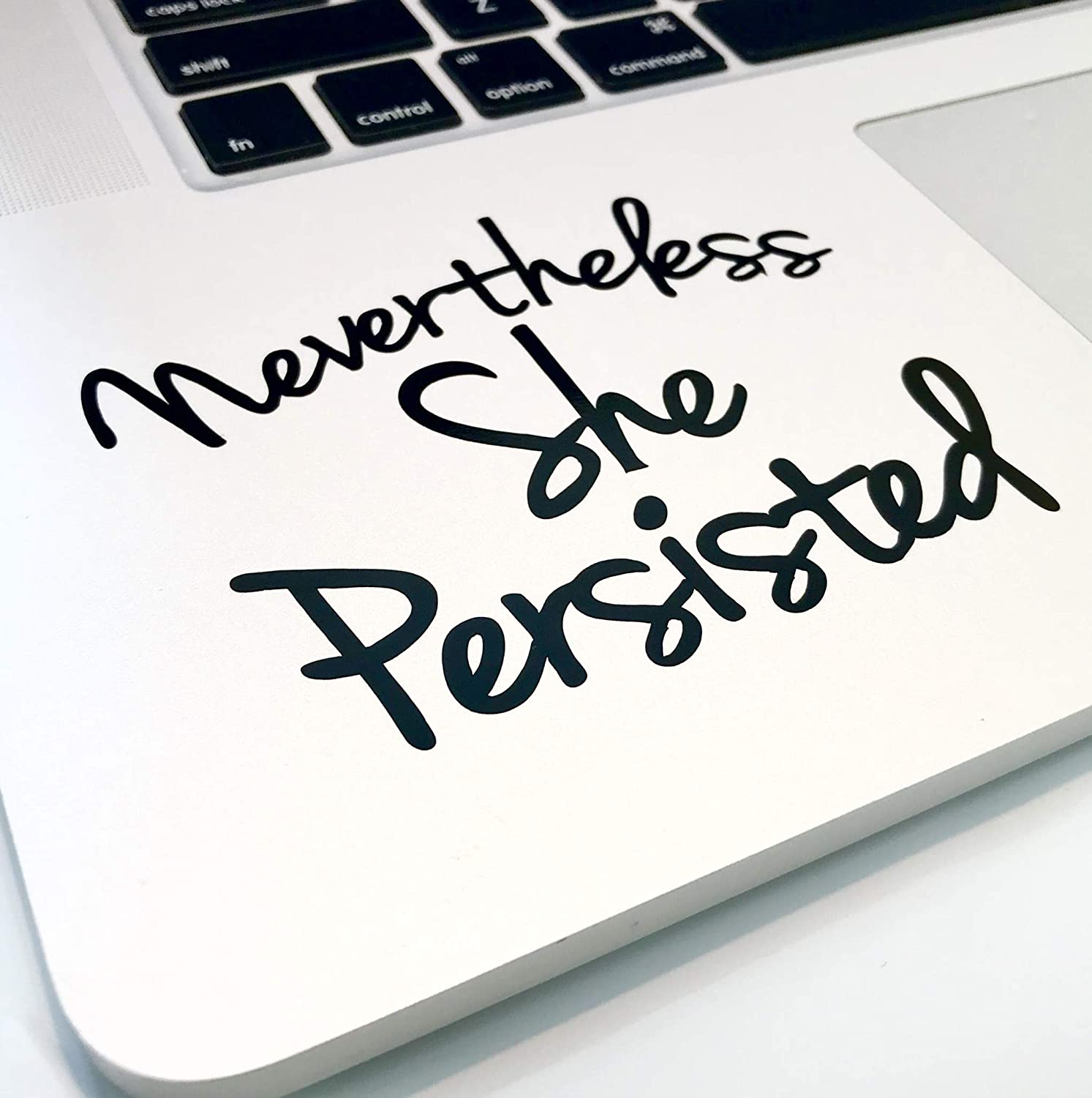 "Nevertheless She Persisted 4"" Decal _ Vinyl motivational STICKER for laptop journal,wall or car (black)"
