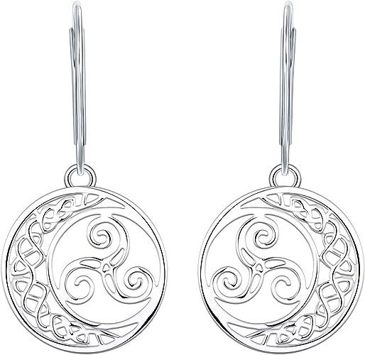Femme Boucles doreilles Pendantes Noeud Celtique Argent 925 Bijoux