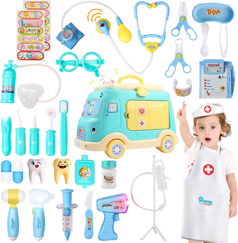 JoyGrow 33 Piezas Maletin Medicos Doctora Juguete,Caja de Almacenamiento de Ambulancia,Doctora Disfraz Juego de rol,de Imitacion Luces y Sonidos Accesorios,Regalos para Niñas Niños 3+ Años (Verde)