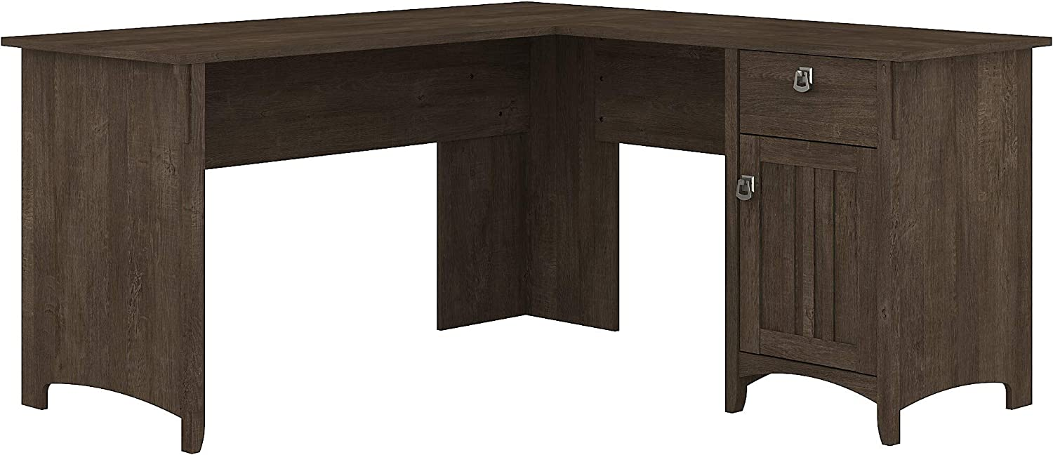 Bush Furniture Salinas L Shaped Desk with Storage, 60W, Ash Brown