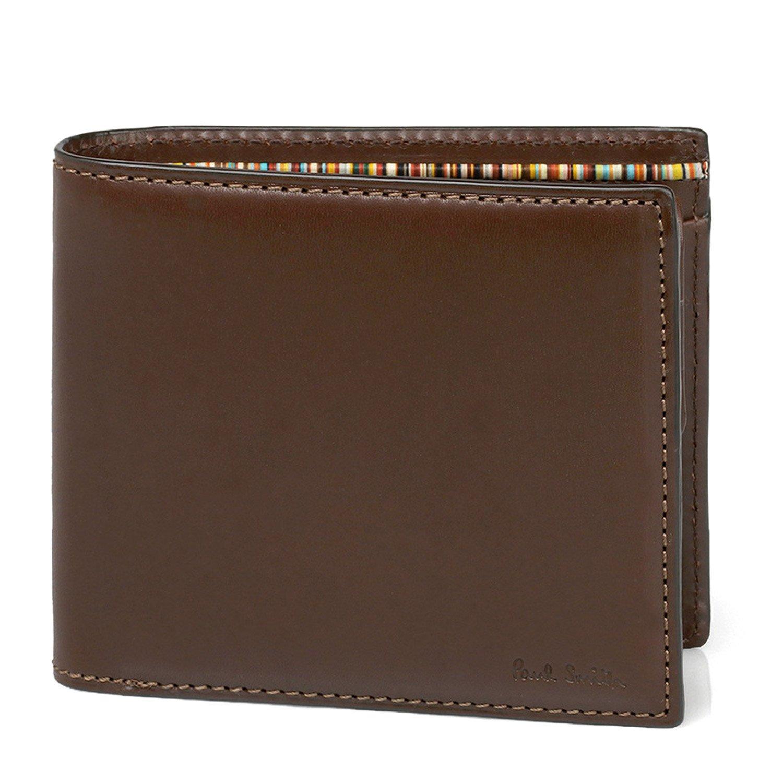 [名入れ可] (ポールスミス) Paul Smith オールドレザー ウォレット 本革 二つ折り財布 873215 P485 ショップバッグ付 B0761MJ3HW 名入れあり ダークブラウン ダークブラウン 名入れあり