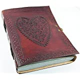 Leather journals christmas gift Large Vintage Heart Embossed Leather Journal Notebook Diary (Handmade Paper) - Coptic Bound With Lock Closure black friday & cyber monday gifts