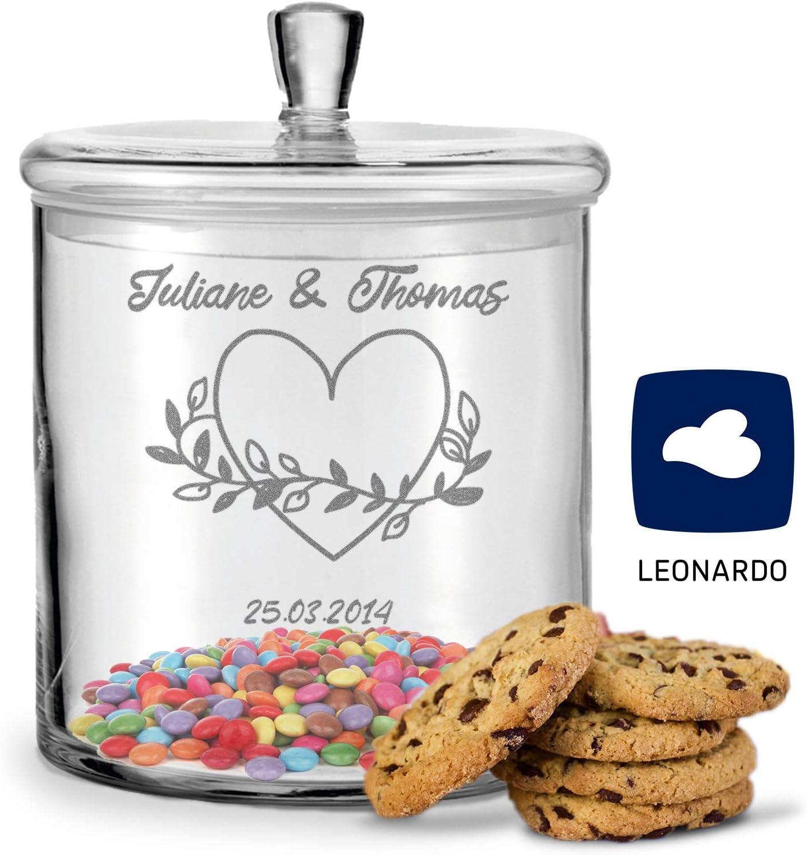 GRAVURZEILE Leonardo Keksglas mit Gravur Geschenk f/ür Paare zur Hochzeit als Geldgeschenk Farbe Blumenkranz Keksdose Bonbonglas mit Deckel Vorratsdose personalisiert mit Namen /& Datum