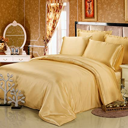 LILYSILK 4Pcs Raw Silk Bedding Sheets Flat Sheet Fitted Sheet Oxford  Pillowcases Set 19 Momme Pure